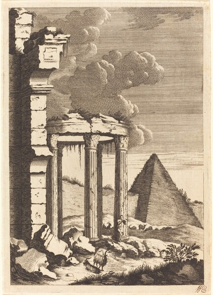 Goats before Ruins and a Pyramid