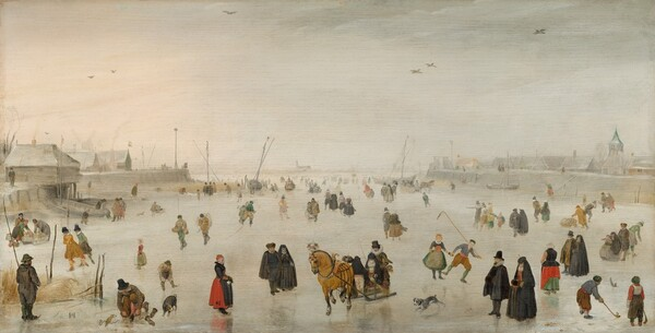 We look slightly down onto a panorama with dozens of light-skinned men, women, and children skating and standing on a frozen river in this horizontal landscape painting. Most of the men wear black hats and suits, some with white collars and hip-length capes. The women all wear ankle- or floor-length skirts and some are covered with black cloaks that drape over their heads to their feet. Many people wear black but some of the clothing is scarlet, sage-green, denim-blue, beige, or slate gray. The touches of black and other colors alleviate a scene painted almost entirely with cool whites and silvery light grays. A few people draw the eye, like the man standing with his back to us, wearing dark gray and holding a tall pole in the lower left corner. To the right, a man kneels to retie a skate with a brown and black dog nearby. A woman wearing a crimson skirt and a couple clad entirely in fur-lined black clothing look towards a man and woman riding a horse-drawn sled on the ice, at the lower center of the painting. Another black-draped form in the sleigh could be a second woman wearing a cloak. A pair of boys play a game like hockey in the lower right corner. People gather and skate in pairs and small groups or ride in sledges into the deep distance. The buildings and boats lining the horizon, which comes about halfway up the composition, are painted in shimmering grays. The sky above is the same cool white as the ice below. A few birds fly across the scene.