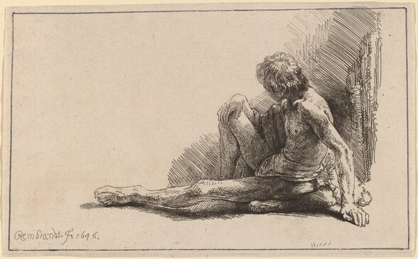 Nude Man Seated on the Ground with One Leg Extended