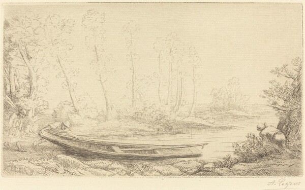 Man with a Punt, Figure to the Right (Pecheurs des truites)