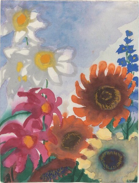 Sunflowers, Pink and White Dahlias, and a Blue Delphinium