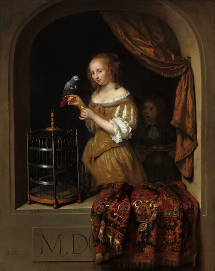 Caspar Netscher, A Woman Feeding a Parrot, with a Page, 16661666