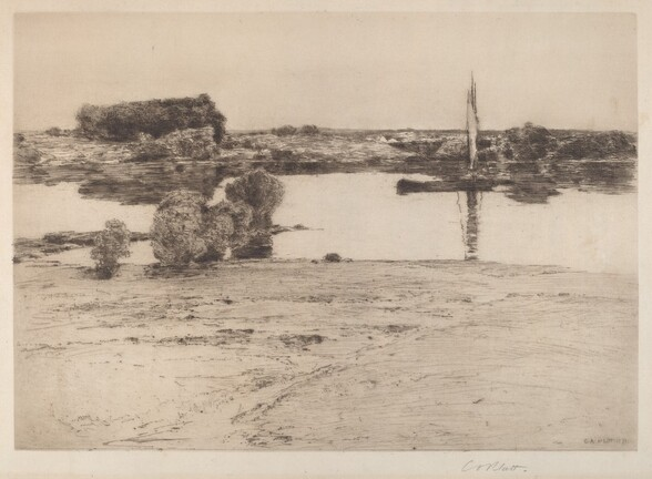 Untitled (River Scene with Boat)