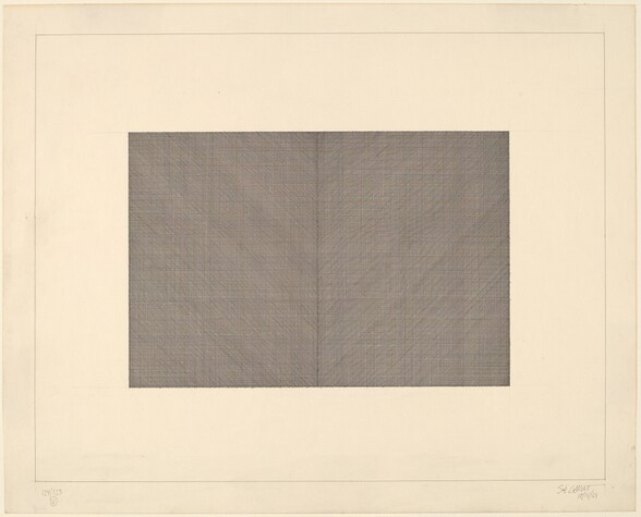 Pen and Ink Drawing of Diagonal, Horizontal and Vertical Lines, Black on White