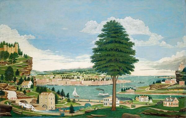Composite Harbor Scene with Castle