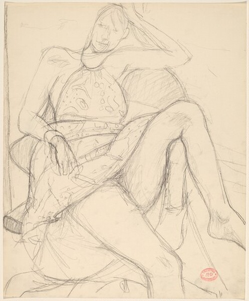Untitled [seated woman in a summer dress]