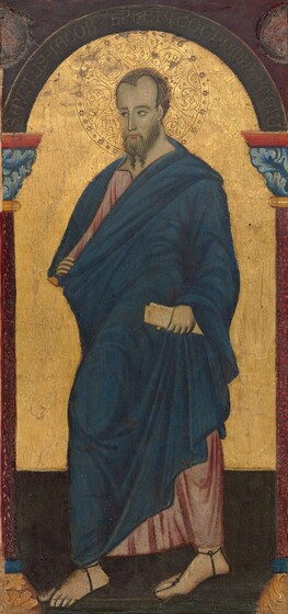 """A bearded, light-skinned man striding toward our left and looking in that direction, placed between two columns supporting an arch, all against a shiny gold background, nearly fills this vertical painting. He has a high forehead with short, brown hair, dark eyes under dark brows, a long, straight nose, and his pink lips are closed within his long beard. He wears a marine blue, ankle-length cloak over a long, rose-pink robe. Folds are painted with lines of darker blue and pink. He clenches a parchment-colored scroll in his left hand, on our right, down by his hip and grasps the edge of his cloak with his opposite hand. His head is surrounded by a halo created by incising and punching the gold background behind the man. The shoulder-wide halo is decorated with S-shaped spirals and a ring of simple, delicate flowers around the perimeter. He stands on a dark gray floor that meets the gold background just below knee-level. The columns to either side are cut off by the edges of the panel, and are brick-red with light blue, leafy capitals. The brown arch supported by the columns is inscribed, """"SANCTUS JACOB LEPHI Q COGNOMINAT E IU."""" The corners above are maroon red, and rough, disk-shaped areas in each corner could indicate losses."""