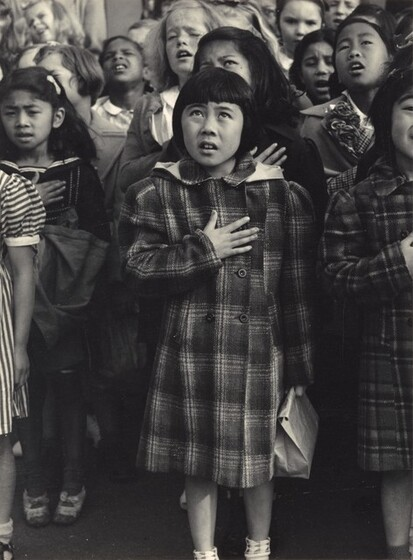 Dorothea Lange, Children of the Weill public school shown in a flag pledge ceremony, San Francisco, California 