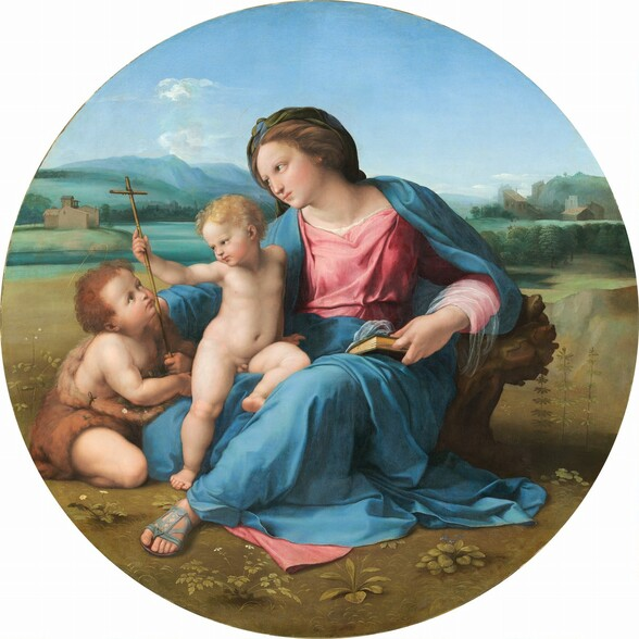 A woman and two children, all with creamy white skin, sit together in a landscape in this round painting. The woman takes up most of the composition as she sits with her right leg, to our left, tucked under her body. Her other leg, on our right is bent so the foot rests on the ground and her knee angles up and out to the side. She wears a rose-pink dress under a topaz-blue robe, and a finger between the pages of a closed book holds her place. Her brown hair is twisted away from her face. She has delicate features and her pink lips are closed. She looks and leans to our left around a nude young boy who half-sits and half-stands on her bent leg. The boy has blond hair and pudgy, toddler-like cheeks and body. The boy reaches his right hand, on our left, to grasp the tall, thin cross held by the second young boy who sits on the ground next to the pair. This second boy has darker brown hair and wears a garment resembling animal fur. The boy kneels facing the woman and looks up at her and the blond boy. The trio sits on a flat, grassy area in front of a body of water painted light turquoise. Mountains in the deep distance are pale azure blue beneath a nearly clear blue sky.