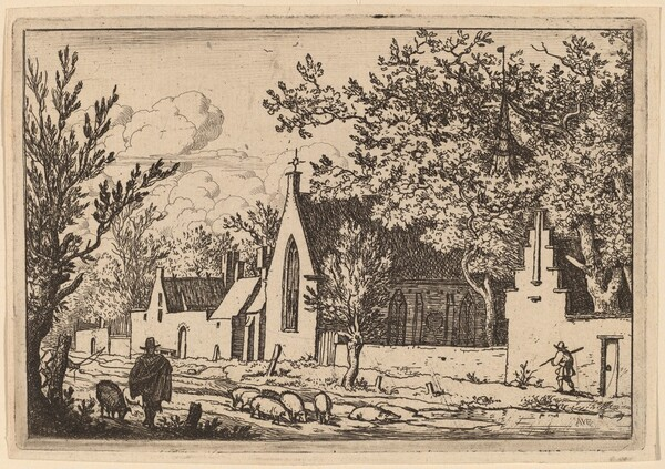 Swine Herd near a Chapel