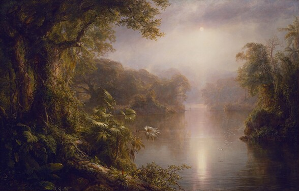 We seem to stand on a riverbank and look onto a tropical forest split by a hazy, placid river in this horizontal landscape painting. Densely packed trees, bushes, and plants create shadowed, thickly forested banks along both sides of the river. The trees are covered with climbing vines and their gnarled, wide-spread branches make them look old. Light catches the flat leaves of a palm-like plant close to us to our left, and once we take a closer look, we find two miniscule black birds with cherry-red chests perched on a long curving stem. The vegetation is reflected in the water's surface into the distance, where it becomes pale mauve and blends imperceptibly with the sky and clouds. A flock of white birds create a long line low over the water to our right. The sun is a small disk of white low in the humid sky amid pale lavender clouds. The sun reflects in the calm surface of the water below, and it brings our attention to a person rowing a canoe, barely visible on the river in the deep, hazy distance.