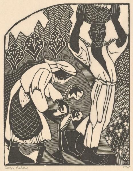 Cotton Pickers (left panel)
