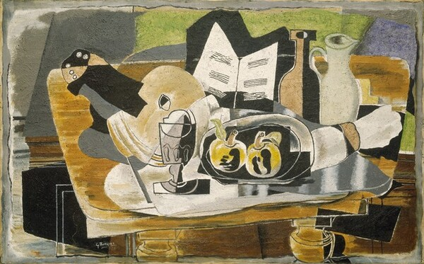 """A jumble of abstracted objects, including a stringed instrument, tableware, and fruit, are gathered on a tabletop in this horizontal still life painting. The objects are made up of areas of mostly flat color in muted fawn brown, cream, bright white, fern green, slate gray, and black, and many are outlined in black, creating the impression that the some shapes are two-dimensional and assembled almost like a collage. To our left, a musical instrument, perhaps a lute, sits next to appears to be lined paper, perhaps abstracted sheet music, at the center of the composition. In front of the paper, two pieces of pale yellow fruit, perhaps apples, sit on a silver plate. A rolled up white napkin sits next to the plate in front of an urn and a jug. A steel-gray goblet, perhaps indicating that it is glass, sits to the left of the plate. The background behind the table is painted with zones of moss green, sky blue, and gray, and is painted with what looks like a torn edge, as if the still life painting is done on a loose canvas or sheet of paper that was then affixed to a panel. The surface of the painting is rough and appears scratched throughout, and looks as if it had been applied when nearly dry. The artist signed and dated the painting in white near the lower left corner: """"G Braque 28."""""""