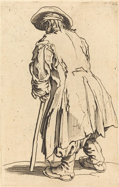 Old Beggar with One Crutch