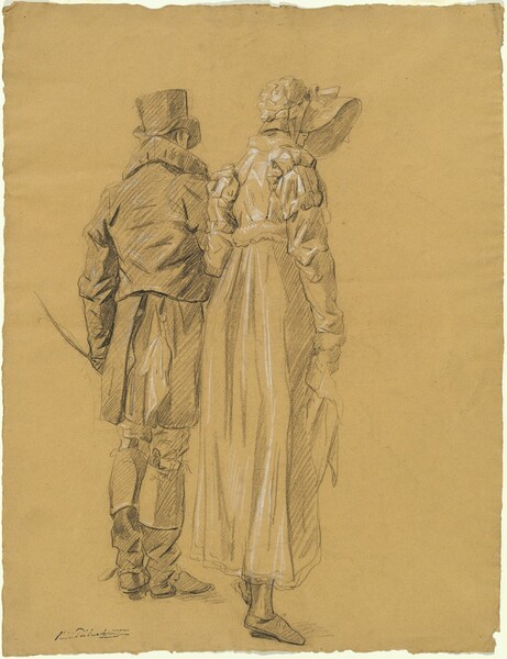 A Fashionable Couple Seen from Behind