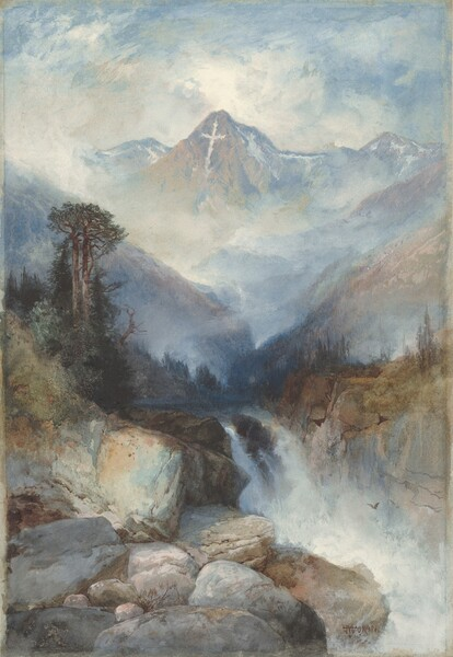 We seem to stand on or near a bank of large boulders that give way to a waterfall in the middle distance, behind which a towering mountain marked with a white cross rises near the top of this vertical watercolor landscape. Painted with swirling washes of topaz and powder blues, creamy white, and some touches of pale golden yellow, the central mountain ascends amid the clouds settled around peaks to either side. Slivers of white along the central and neighboring mountains echo the white cross, which seems to have been made with fallen snow on the face of the central peak. Clouds or fog eddying around the neighboring peaks make the middle distance hazy. Closer to us, some scrubby pine green trees line a riverbank that feeds a waterfall in the lower third of the composition. The water falls behind the slate gray boulders hulking in the lower left corner of the paper. A bird flies in the mist near the falls.
