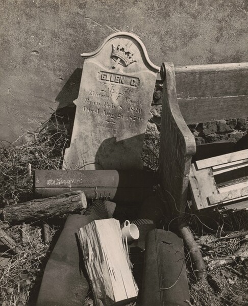 Discarded Pew and Gravestones, Suburban Philadelphia, Pennsylvania