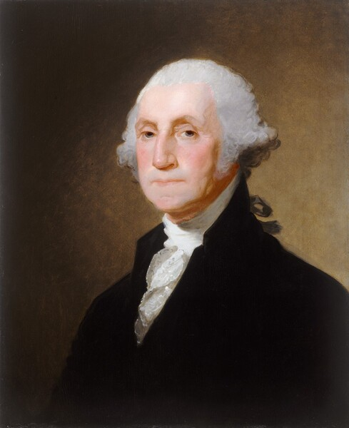 Seen from the chest up, a cleanshaven, middle-aged man with pale skin and silvery gray hair, wearing a white, ruffled shirt under a velvety black, high-necked jacket, looks out at us from in front of a peanut-brown background in this vertical portrait painting. His body is angled to our left and he turns his face slightly to look at us with gray eyes under slightly arched eyebrows. He has a long nose and his thin lips are closed in a straight line. Shadows define slightly sagging jowls along his jawline and down his neck. His light gray hair seems to be pulled back from his forehead and swells in bushy curls over his ears. Part of a black ribbon seen beyond his shoulder may tie his hair back. Light illuminates the person from our left and creates a golden glow on the light brown background behind him.