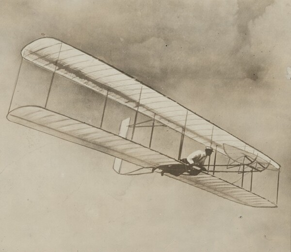 The Wright Brothers in Gliding Machine