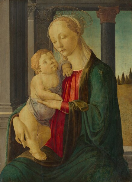 A young, pale-skinned woman with reddish-blond hair sits with a nearly nude, chubby toddler standing in her lap in this vertical painting. She looks down at him, her body and face angled to our left. Thin lines creating a gold halo fan out from the back of her head. An ivory-colored scarf wraps around her head and trails down the back of her neck where it is tucked into a dark teal cloak covering her shoulders and draping across her lap. Under the robe, she wears a loose, cherry-red gown with vertical pleats over her chest. The baby, also with pale skin, reddish blond hair, and a delicate gold halo, looks up at her face with light brown eyes. He stands on the woman's right thigh, to our left. The woman's right hand, to our left, wraps around his body and supports his legs while she props up his chest with her opposite hand. A length of pale gray fabric wraps around his stomach and over one shoulder. The two are situated in front of a column and pillar supporting an entablature like a lintel overhead. The view beyond is of a blue sky over a golden field with dark green conical cypress trees in the distance.