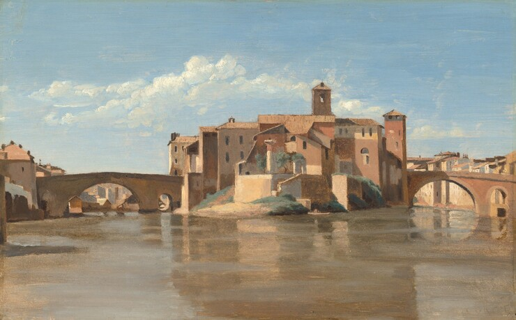 Jean-Baptiste-Camille Corot, The Island and Bridge of San Bartolomeo, Rome, 1825/1828