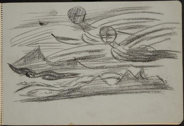 geflügelte Mischwesen, über Gebirge fliegend (Winged Creature Flying over Mountains) [p. 3]