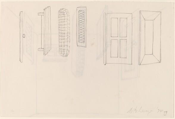 Basket, Table, Door, Window, Mirror, Rug #40 [verso]