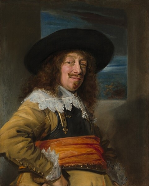 Seen from the hips up, a man with a ruddy complexion and long, brown curly hair and goatee stands in front of a window opening onto a moonlit sky in this vertical portrait. His body faces our right and his right fist, closer to us, rests on his hip so his elbow juts towards us. Wearing a dark, wide brimmed hat, he turns his head to look over his right shoulder directly at us. His eyebrows are slightly raised over brown eyes and he has a bumpy nose, a slight double chin, and pale pink lips that curve in the mere suggestion of a smile. He wears a golden yellow jacket with buttons along the sleeve we can see. The wrist of the jacket is trimmed with a wide, lace-edged cuff and a similarly wide, lace-trimmed collar lays over the armor breastplate that covers his chest. A marigold orange sash is tied around the breastplate as well near the waist, and the goldenrod jacket drapes from a portly belly over his hips. He stands in front of an undefined gray wall pierced with a rectangular window, which is lined along the top with a veil of dark gray clouds over the moonlit sky.