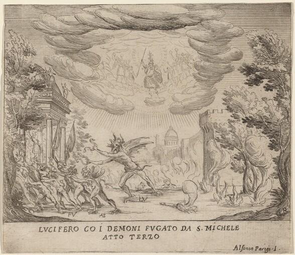 Lucifer and Demons Fleeing Saint Michael