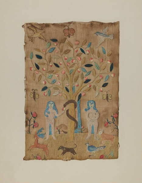 Adam & Eve Embroidered Picture