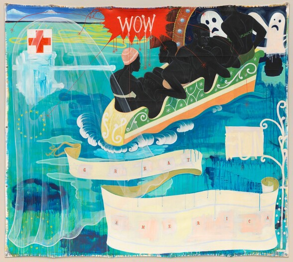 """All four sides of this square, unstretched canvas are lined with six gromets spaced along each edge. Blue-green water fills most of the stylized composition. Four people with black skin are squeezed into a small boat floating towards a carnival-like tunnel near the upper right corner. Cartoon ghosts loom at the tunnel entrance and a translucent, veil-like ghost hovers over the left half of the painting. The horizon comes almost to the top of the canvas, where white clouds float against an azure blue sky. A long, lemon-yellow line curls back and forth in a tight, curving zigzag pattern that widens out from a tiny sun setting on the horizon. A red cross on a white field floats near the upper left. At the top center, the word """"WOW"""" appears in white letters within a crimson-red, bursting speech bubble with long trailing tendrils. Below the boat and against the water to our right, the word """"FUN"""" has been overlaid with a white square so the tall, white letters are barely visible. The words """"GREAT AMERICA"""" appear in a curling banner across the bottom half of the painting."""