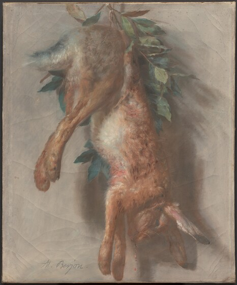 Antoine Berjon, Hunting Trophy with Hare and Bay Leaves, c. 1810c. 1810