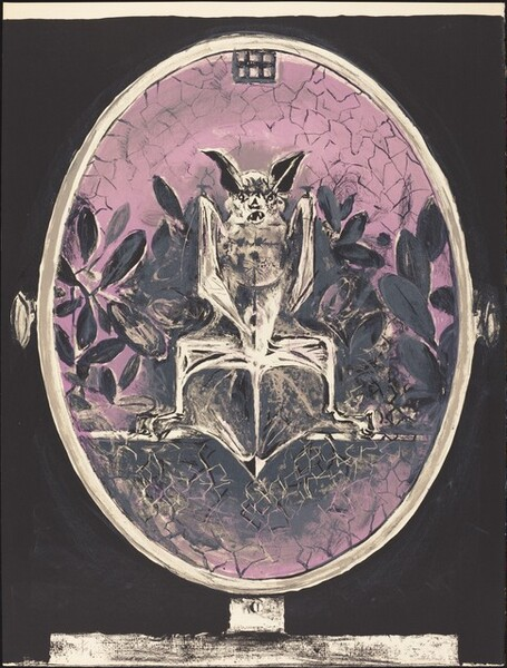 Chauves Souris (in a looking glass against a window)
