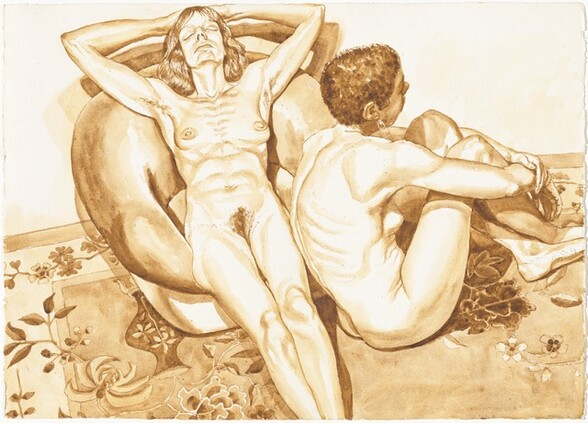 Two Nudes with Flowered Rug