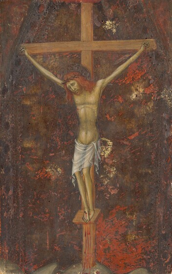 A thin, haggard, olive-skinned, nearly nude man is nailed to a wooden cross in this vertical painting. His body is stretched and elongated between wide-spread hands. Blood trickles from where each hand has been nailed to the cross and from a gash over his right ribs, on our left. The blood from the nail in his overlapping feet trickles down the shallow platform on which they rest, down the foot of the cross, and onto the ground. His head droops down to our left, eyes closed and shaded under deeply furrowed brows. Blood also drips from the ring of thorns around his long, coppery-red hair. He has a long, straight nose, a short beard, and his lips are slightly parted. The man wears a sheer white cloth loosely draped low on his hips. The background is streaked with tawny brown, burnt orange, and gold.