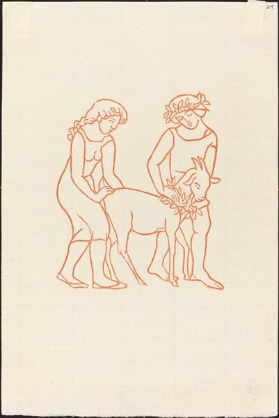 Second Book: Daphnis and Chloe Sacrificing a Crowned Goat (Daphnis et Chloe emmenant le bouc, chef du troupeau, pour le sacrifier a Pan)