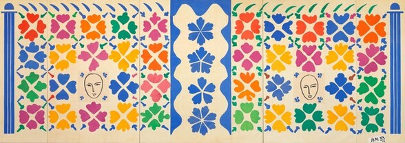 """Royal blue, sunshine yellow, kelly green, deep pink, and orange petal-like shapes and other forms are arranged in a grid-like pattern against a cream-white field in this abstracted horizontal artwork. Applied to five joined, vertical canvases, the design is anchored at the center by a vertical blue pillar encasing a vertical row of four flower-like forms. Flanking the central column to either side, flowers are arranged in four rows of five blooms. Each bloom is a single, flat color, created with four cut pieces of painted paper. The arrangement of the colors vary so the flowers do not create a rigid pattern, though it seems like a pattern at first glance. The flowers are separated by clove-like forms creating X-shapes at the corner of each bloom. A stylized face takes the place of one flower near the center of each panel. Each oval face, eyes, nose, and mouth is drawn with black lines. Column-like forms in royal blue encase the composition along the left and right edges, and a row flicks like inverted commas lines the top edge. The flicks over the left half are blue and the flicks over the right half are green. The artist signed and dated the work with blue paint at the bottom right: """"HM 53 53."""""""