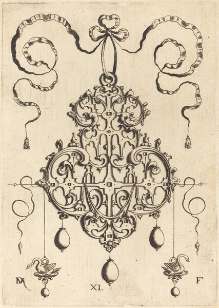 Strapwork Pendant with Two Swans as Earrings at Left and Right