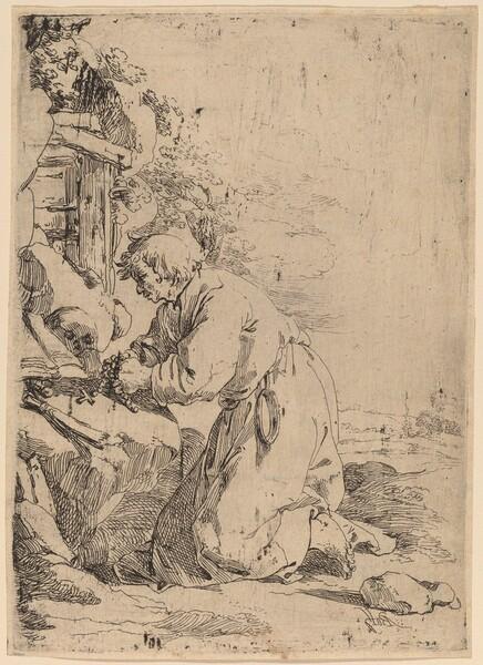 The Kneeling Hermit Facing Left