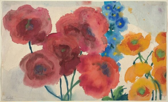 Red and Yellow Poppies with a Blue Delphinium