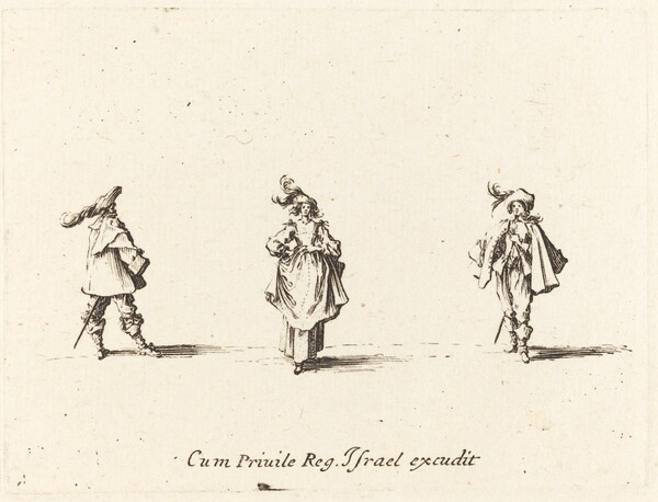 Lady with Plumes, and Two Gentlemen