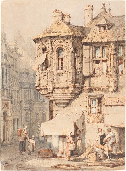 French Street Scene with a Medieval Turret