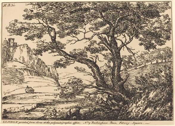 Landscape with Large Tree, Castle on Left