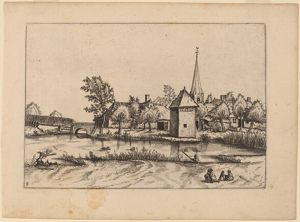 Country Village with Church and Bridge