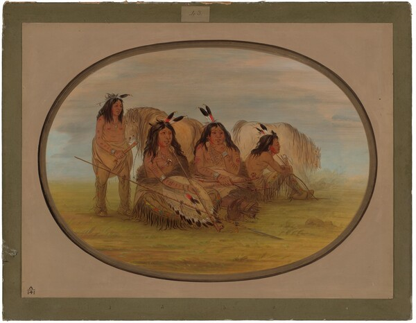 Camanchee Chief with Three Warriors