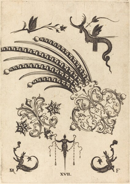 Two Brooches with Dragon and Insects at Top and Human Beings with Snake-like Tails atBottom