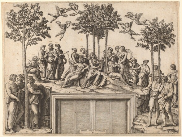"""Twenty-four people gather on a hilltop that incongruously curves over a door and door jamb in this horizontal engraving. Created with black lines on white paper, the print replicates a painting that surrounds a door in an actual room. At the upper center, Apollo sits on an earthen mound. He has long curling hair and wears a laurel crown, tunic, and flowing robe affixed like a cape. He strums a lyre with his right hand, on our left. In groups of four or five, men and women stand in conversation or lounge in repose around him. Faint cursive writing, added with pen, above most of their heads identify them as poets and mythological muses. One group gathers around a lone tall, spindly tree to the left; a grove of several trees frames the group behind Apollo at the center; and a pair of trees separates two small groups of people to the right. The tops of the trees almost touch the top of the print. Five cherubs, each holding leaf diadems in both hands, float between the tree canopies above. A piece of paper seems to be affixed to the doors below, at the bottom center of the composition. It is inscribed with all caps, """"RAPHAEL PINXIT IN VATICANO,"""" above a monogram with the conjoined initials """"MAF."""""""