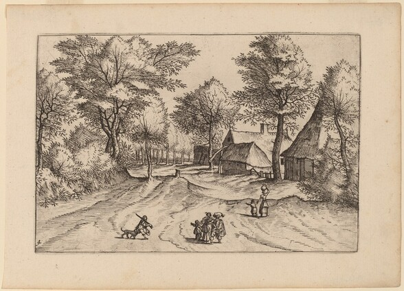 Village Road with Farm and Sheds
