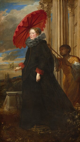 A tall woman with pale white skin and a shorter man with brown skin stand on a terrace in this vertical, full-length portrait. At the center, the woman wears a voluminous, long-sleeved black dress with a row of gold buttons down the bodice. She has a wide, gray ruffled collar at her neck and red ruffled cuffs at her wrists. Her brown hair is pulled back under a cap ornamented with rows of white pearls. She looks at us close-lipped down the bridge of her straight nose. She holds a sprig of orange blossoms in her right hand, on our left. The Black person leans into the space from our right as he reaches to hold a crimson parasol over and behind the woman's head. He wears an amber yellow garment over a white shirt. Fluted columns rise along the right edge of the composition and the terrace is enclosed with a low balustrade. Plants surround her feet and a distant landscape below a blue sky is visible to our left.