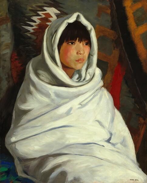 Indian Girl in White Blanket